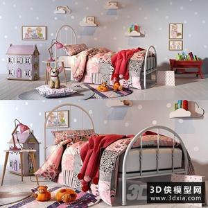 兒童床組合國外3D模型【ID:729294991】