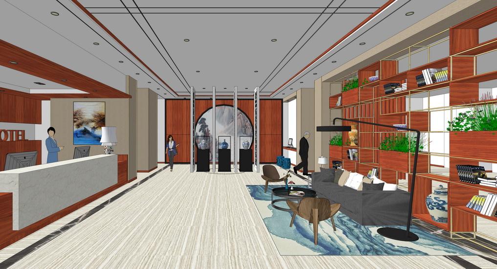新中式酒店大堂室内设计SU模型【ID:936474849】