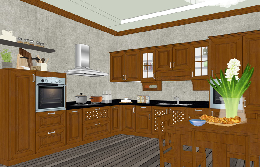现代厨房橱柜组合SU模型【ID:736475138】