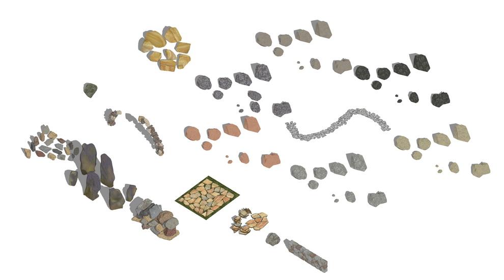 石头组合SU模型【ID:136476919】