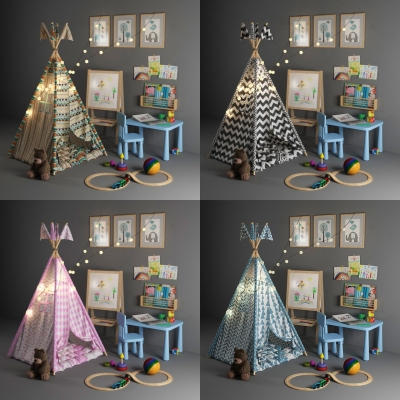 现代儿童帐篷玩具桌椅组合3D模型【ID:928562207】