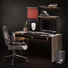 现代书桌椅书房饰品组合3D模型【ID:128413974】