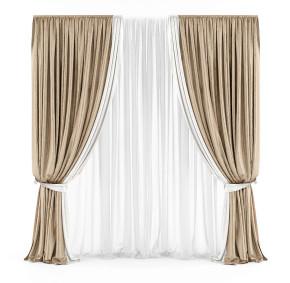 现代窗帘窗纱3D模型【ID:327785899】
