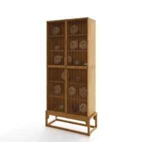 印诺新中式格子带门柜书柜 3D模型【ID:141549812】