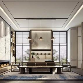 新中式茶室3D模型【ID:327920738】