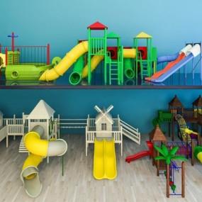 儿童器材滑梯组合3D模型【ID:227877434】