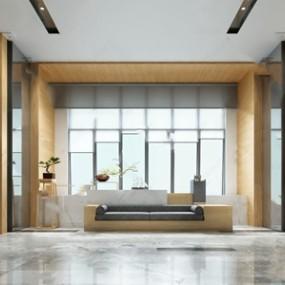 新中式酒店接待区3d模型【ID:520834219】