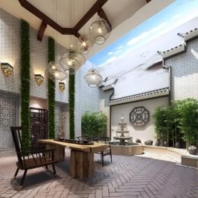 新中式茶室3D模型【ID:328242740】
