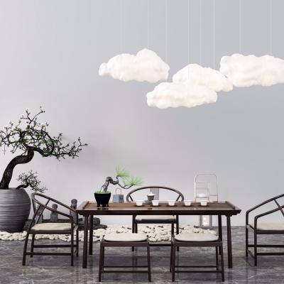 新中式實木茶桌椅盆栽云彩燈擺件組合3D模型【ID:327792660】