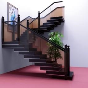 现代玻璃楼梯3D模型【ID:828473564】