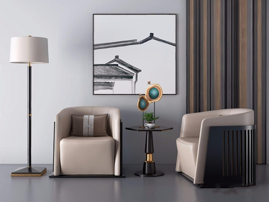 新中式休闲沙发组合3D模型【ID:928328696】