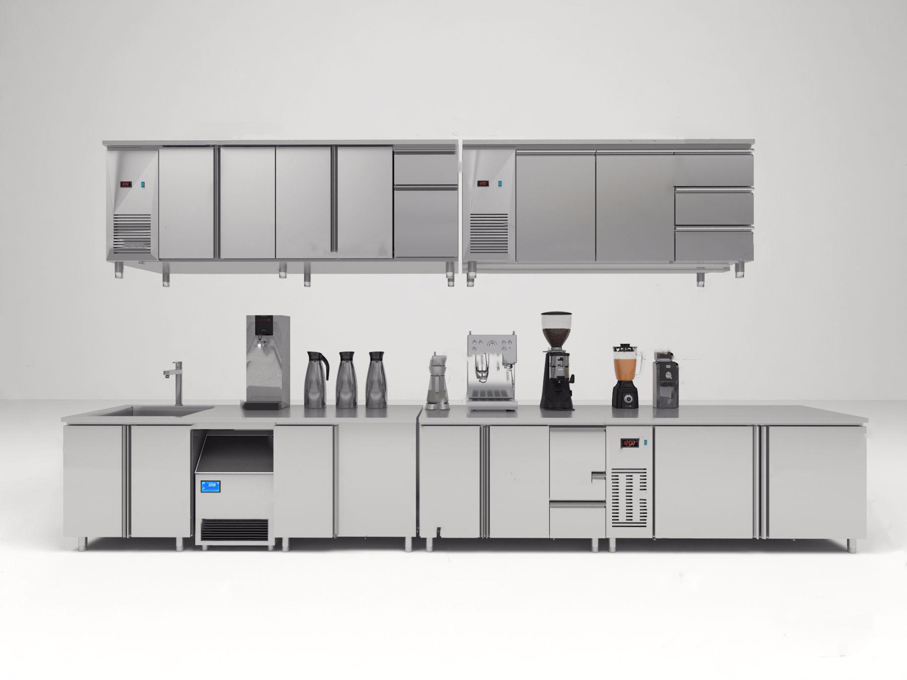 现代后厨设备冷藏柜操作台制冰机开水机3D模型【ID:142180724】