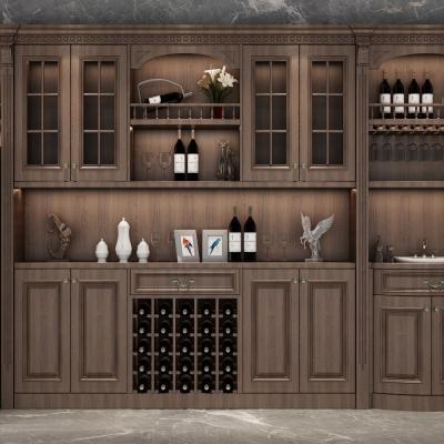 欧式实木酒柜组合3D模型【ID:928559006】