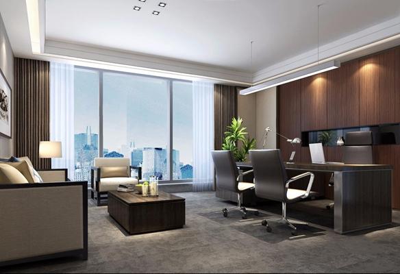 现代新中式老总办公室3D模型【ID:728092678】