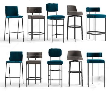 现代轻奢吧椅吧台椅子组合3D模型【ID:620827380】