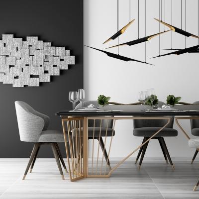 現代餐桌椅吊燈組合3D模型【ID:327791454】