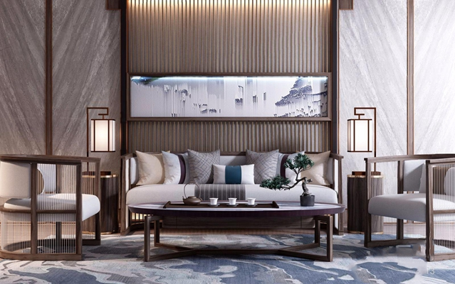 新中式组合沙发 新中式组合沙发 多人沙发 茶几 边几 休闲椅 台灯 挂画 背景墙 茶具 摆件 盆栽