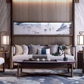 新中式组合沙发3D模型【ID:128214052】