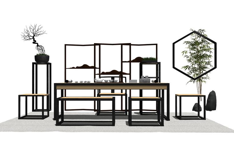 中式茶桌SU模型【ID:436486216】
