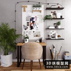 現代书桌椅组合国外3D模型【ID:729444788】