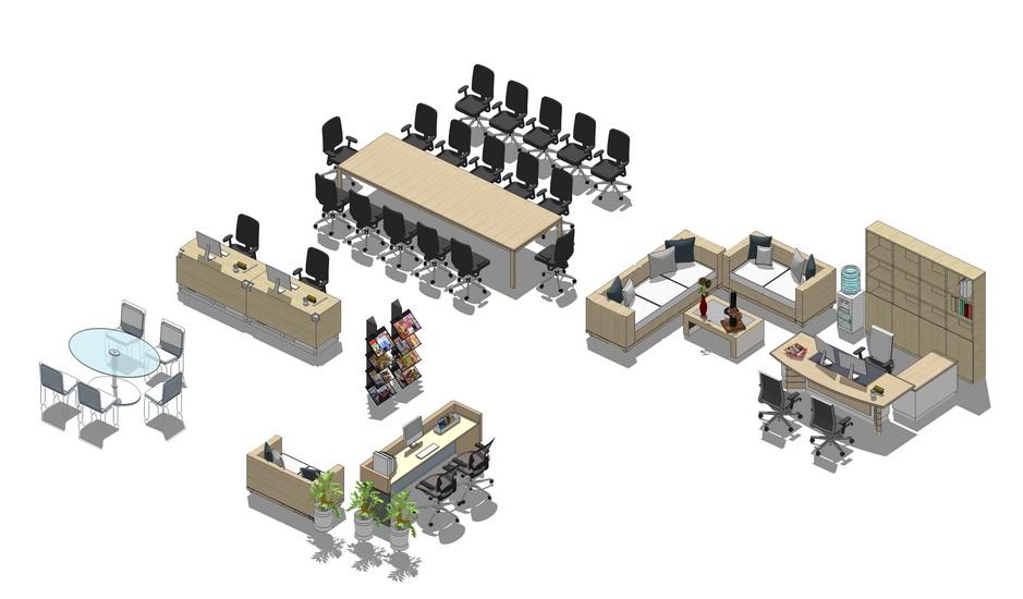 现代办公家具组合SU模型【ID:736487614】