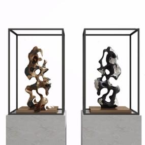 新中式石头雕塑3D模型【ID:928334182】