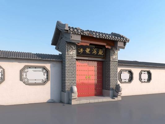中式门头3D模型【ID:724883512】