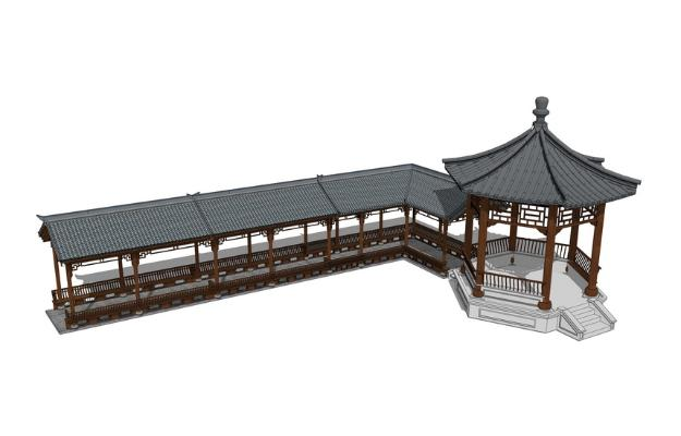 中式仿古连廊SU模型【ID:450733701】