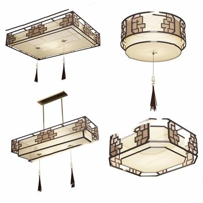 新中式吸顶灯吊灯3D模型【ID:628297054】