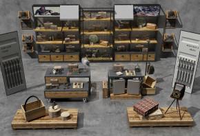 工业风商场皮包箱子展柜组合3D模型【ID:927821212】