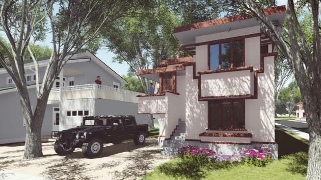 美國系統建造房屋(弗蘭克勞埃德賴特)SU模型【ID:838385033】