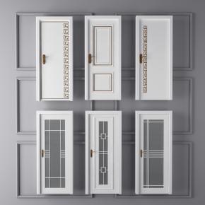 現代白色衛生間門房門組合3D模型【ID:727807566】