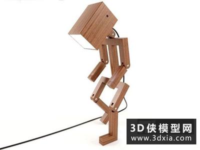 人形木質臺燈國外3D模型【ID:829373974】