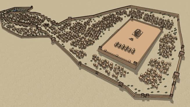 大約公元前444年的耶路撒冷城墻。SU模型【ID:740008464】
