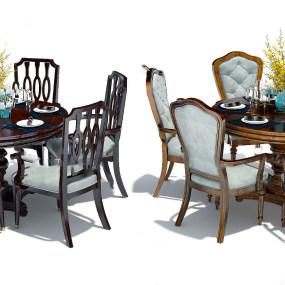 美式圆形餐桌椅3d模型【ID:843426892】