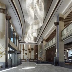 中式酒店大堂3D模型【ID:427942255】