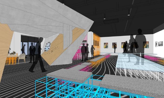 现代展厅室内设计SU模型【ID:645468084】