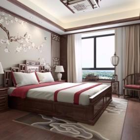 新中式卧室主人房3D模型【ID:128415311】