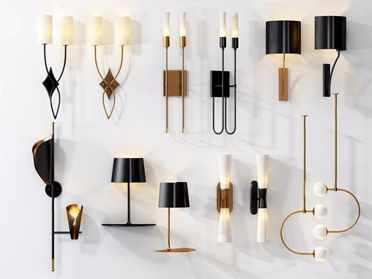 现代北欧壁灯吊灯组合3D模型【ID:528020936】