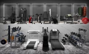现代跑步机哑铃拳击健身器材组合3D模型【ID:927824926】