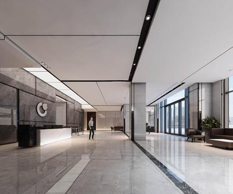 现代办公一层大厅3D模型【ID:728104721】