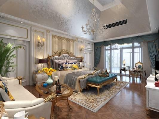 美式卧室3D模型【ID:419625368】