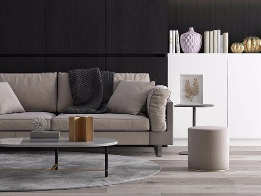 现代精致双人沙发3D模型【ID:928349756】