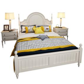 美式实木双人床床头柜台灯组合3D模型【ID:727809083】