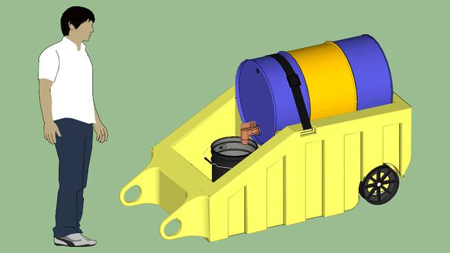 工业系列.设备.容器.鼓溢出遏制分配移动滚筒推车SU模型【ID:940013526】