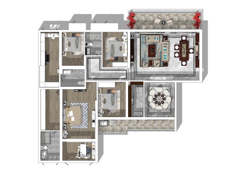 奥林华府现代风格五房两厅室内设计SU模型【ID:436501966】