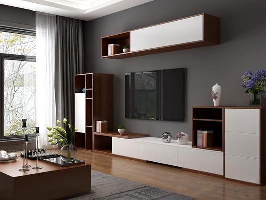 现代电视柜组合家具3D模型【ID:928194004】