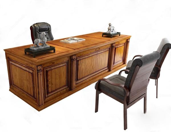 美式老总办公室书柜班台3D模型【ID:331431720】