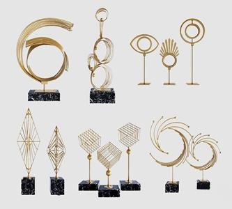 現代輕奢金屬飾品擺件組合3D模型【ID:931409140】