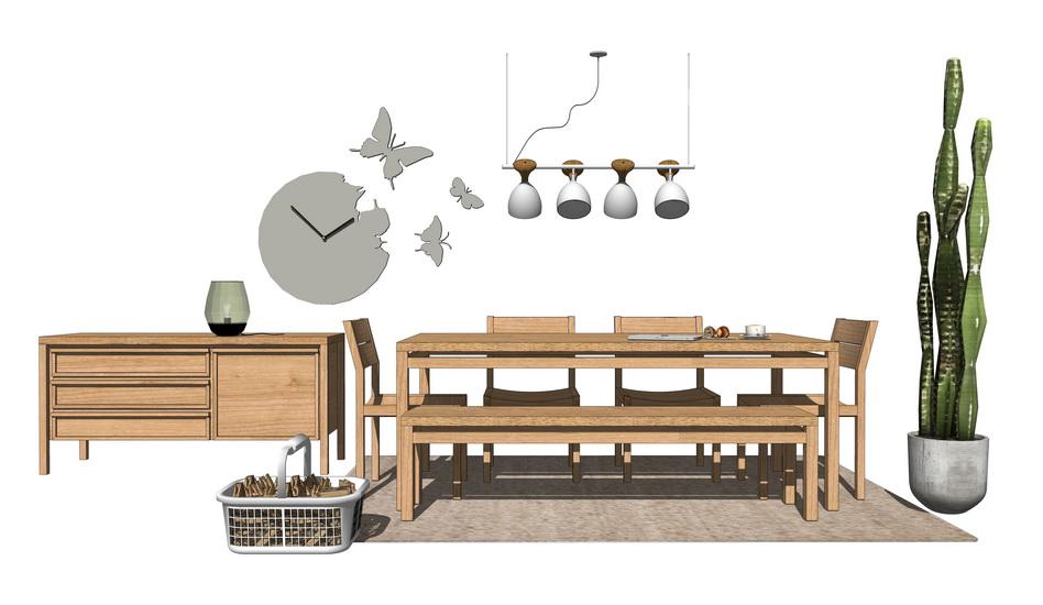 日式风格餐桌餐边柜吊灯组合SU模型【ID:636507652】